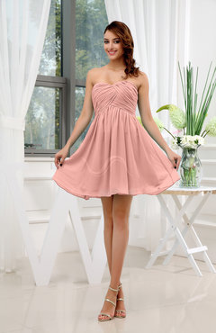 Peach Informal Sleeveless Zip up Short Ruching Party Dresses