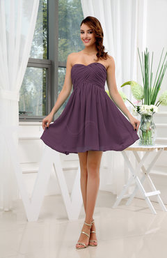 Plum Informal Sleeveless Zip Up Short Ruching Party Dresses