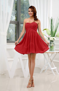 Red Informal Sleeveless Zip up Short Ruching Party Dresses