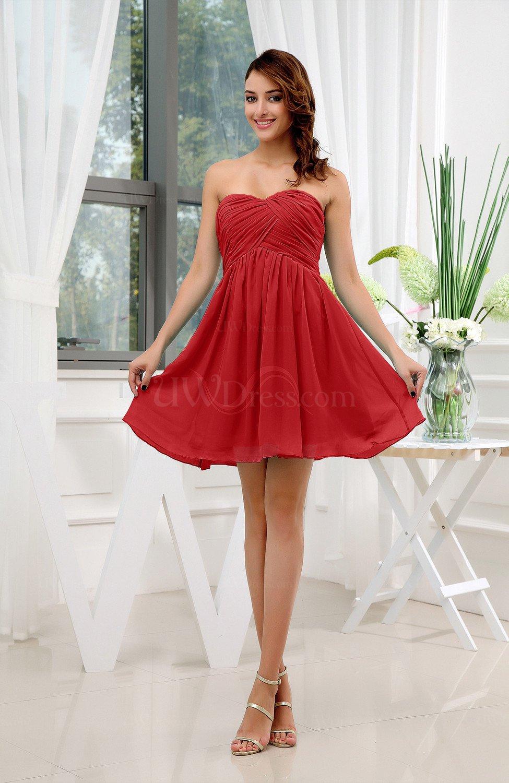 Red Informal Sleeveless Zip Up Short Ruching Party Dresses