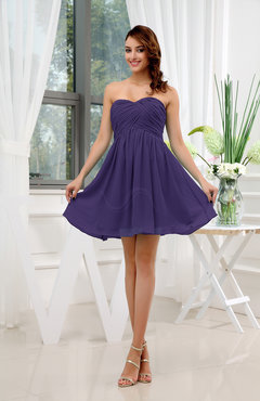 Royal Purple Informal Sleeveless Zip up Short Ruching Party Dresses