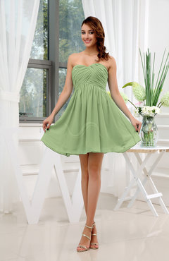 Sage Green Informal Sleeveless Zip up Short Ruching Party Dresses