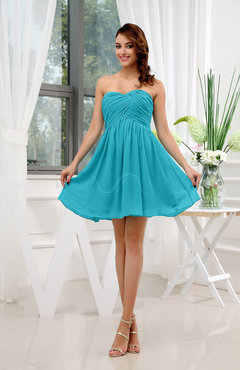 Teal Informal Sleeveless Zip up Short Ruching Party Dresses