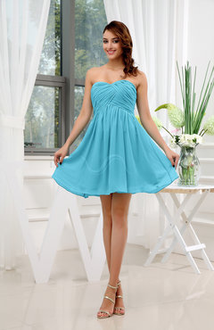 Turquoise Informal Sleeveless Zip up Short Ruching Party Dresses