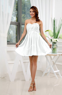 White Informal Sleeveless Zip up Short Ruching Party Dresses