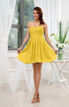 Yellow Informal Sleeveless Zip up Short Ruching Party Dresses