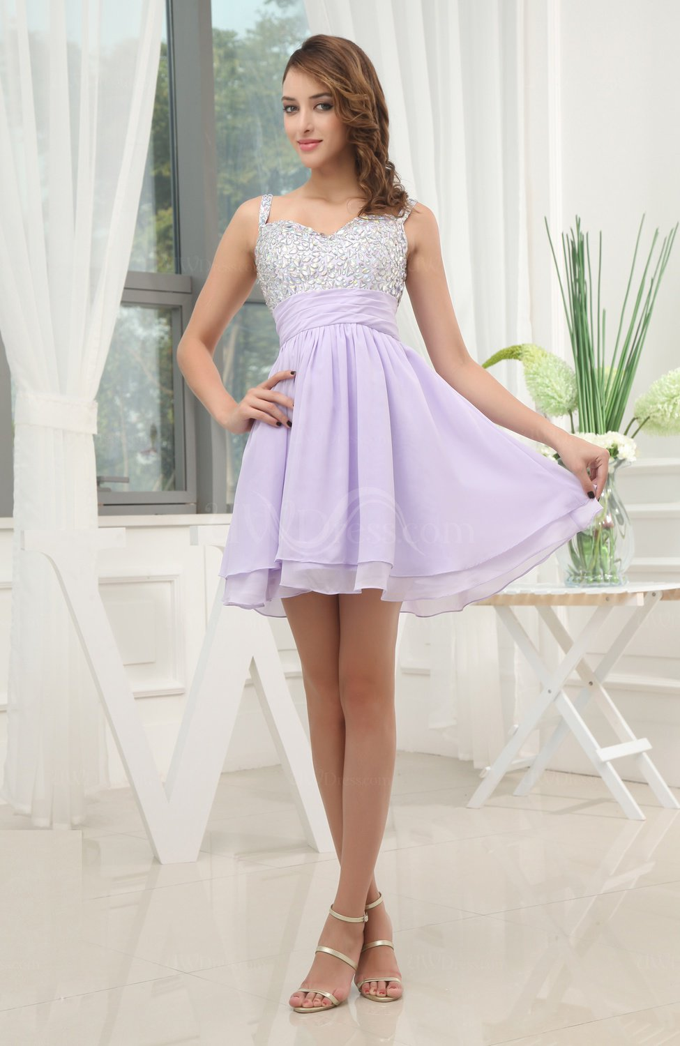 Light Purple Cute Sleeveless Zip up Mini Beaded Club ...