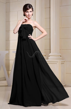 Black Simple Empire Zipper Chiffon Floor Length Evening Dresses