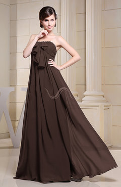 Chocolate Brown Simple Empire Zipper Chiffon Floor Length Evening Dresses