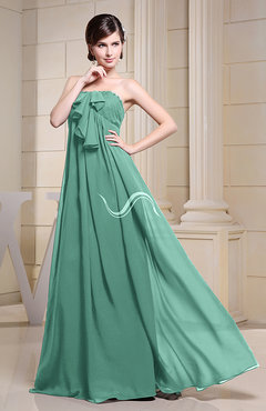 Mint Green Simple Empire Zipper Chiffon Floor Length Evening Dresses