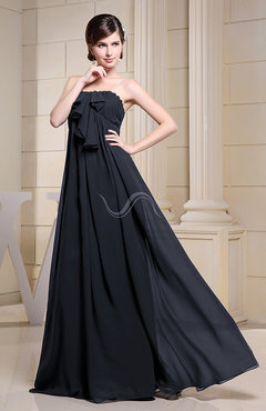 Navy Blue Simple Empire Zipper Chiffon Floor Length Evening Dresses