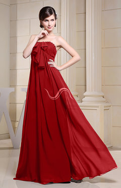 Red Simple Empire Zipper Chiffon Floor Length Evening Dresses