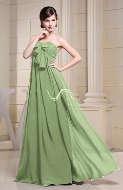 Sage Green Simple Empire Zipper Chiffon Floor Length Evening Dresses