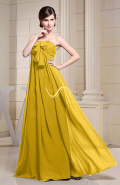 Yellow Simple Empire Zipper Chiffon Floor Length Evening Dresses