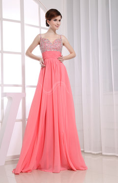 Informal Empire Spaghetti Floor Length Beaded Prom Dresses
