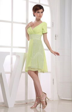 Hawaiian V-neck Short Sleeve Zip up Knee Length Party Dresses