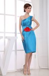 Elegant Column One Shoulder Sleeveless Zipper Knee Length Bridesmaid Dresses