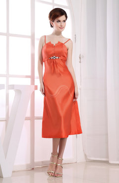 Persimmon Simple A-line Zip up Satin Beaded Party Dresses