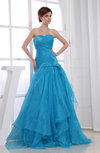 Romantic Hall A-line Backless Organza Floor Length Ruching Bridal Gowns