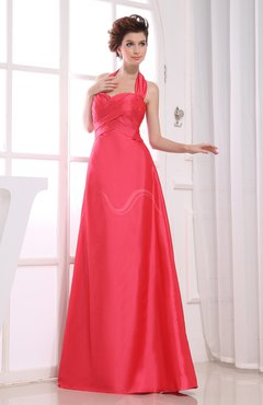 Plain A-line Sleeveless Backless Taffeta Floor Length Bridesmaid Dresses