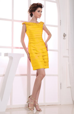 Yellow Antique Column Boat Sleeveless Zip up Paillette Bridesmaid Dresses