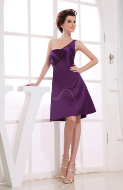 Informal A-line Asymmetric Neckline Satin Ruching Bridesmaid Dresses