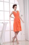 Informal A-line V-neck Zip up Chiffon Ruching Prom Dresses