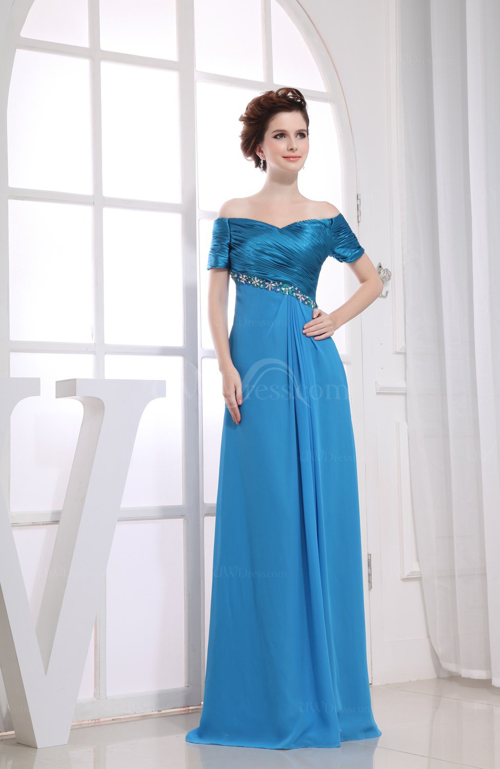 Cornflower Blue Modest Short Sleeve Zip up Floor Length Edging ...