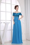Modest Short Sleeve Zip up Floor Length Edging Bridesmaid Dresses
