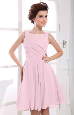 Blush Casual A-line Sabrina Zipper Chiffon Ruching Party Dresses