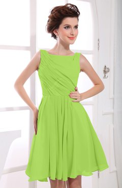 Bright Green Casual A-line Sabrina Zipper Chiffon Ruching Party Dresses