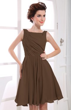 Brown Casual A-line Sabrina Zipper Chiffon Ruching Party Dresses