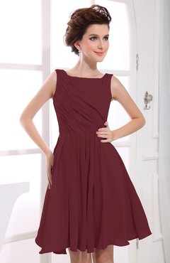 Burgundy Casual A-line Sabrina Zipper Chiffon Ruching Party Dresses