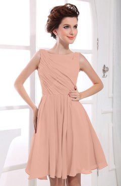 Burnt Orange Casual A-line Sabrina Zipper Chiffon Ruching Party Dresses