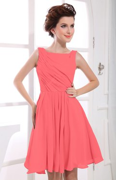 Coral Casual A-line Sabrina Zipper Chiffon Ruching Party Dresses