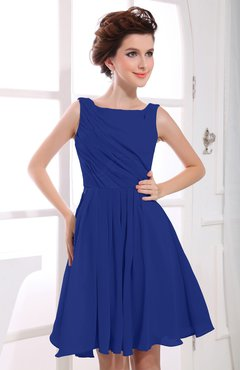 Electric Blue Casual A-line Sabrina Zipper Chiffon Ruching Party Dresses