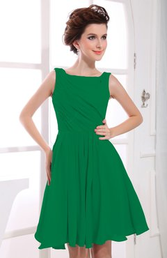 Green Casual A Line Sabrina Zipper Chiffon Ruching Party Dresses