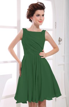 Hunter Green Casual A-line Sabrina Zipper Chiffon Ruching Party Dresses