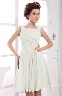 Ivory Casual A-line Sabrina Zipper Chiffon Ruching Party Dresses