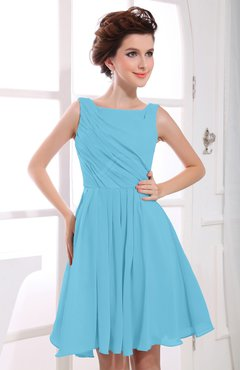Light Blue Casual A-line Sabrina Zipper Chiffon Ruching Party Dresses