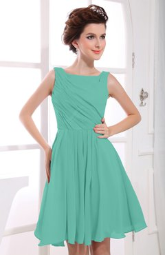 Mint Green Casual A-line Sabrina Zipper Chiffon Ruching Party Dresses
