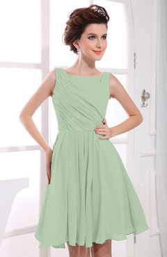 Pale Green Casual A-line Sabrina Zipper Chiffon Ruching Party Dresses
