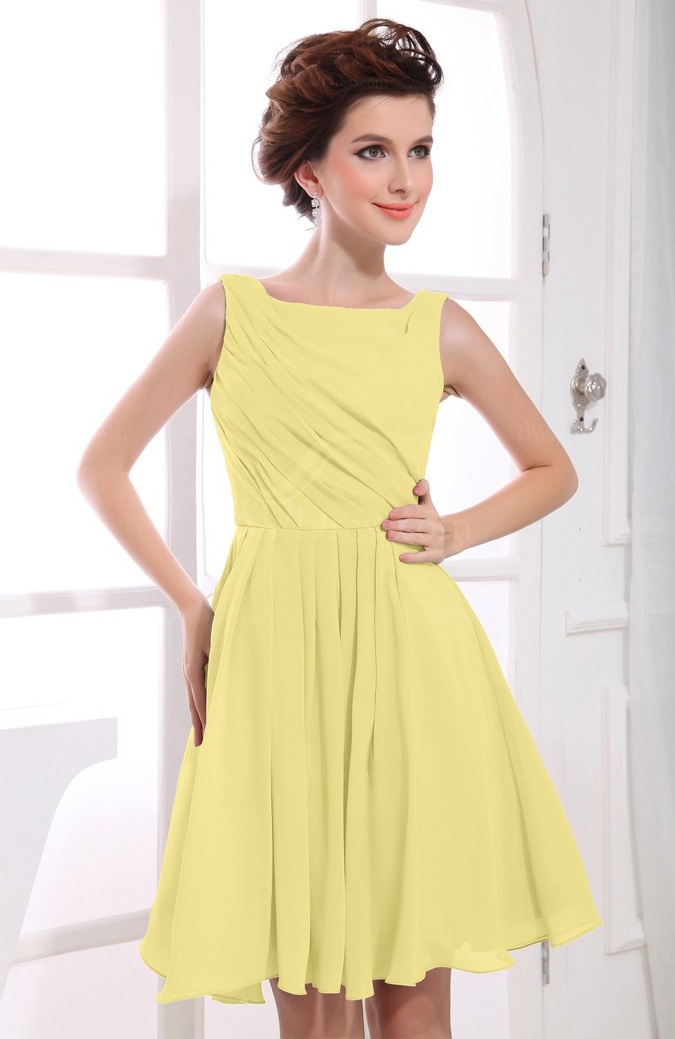 Modest bridesmaid dresses uwdress pastel yellow casual a line sabrina zipper chiffon ruching party dresses ombrellifo Choice Image