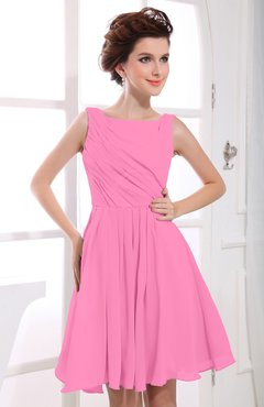 Pink Casual A-line Sabrina Zipper Chiffon Ruching Party Dresses