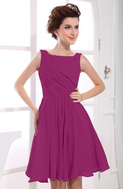 Raspberry Casual A-line Sabrina Zipper Chiffon Ruching Party Dresses