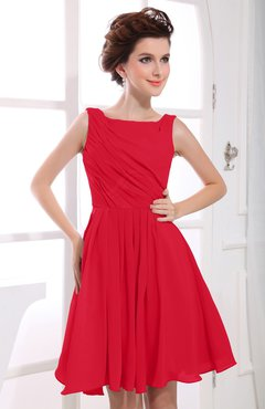 Red Casual A-line Sabrina Zipper Chiffon Ruching Party Dresses