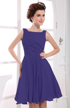 Royal Purple Casual A-line Sabrina Zipper Chiffon Ruching Party Dresses