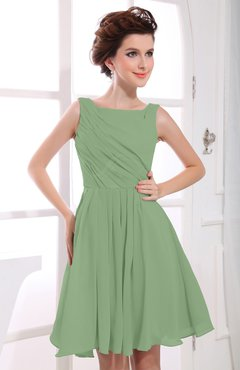 Sage Green Casual A-line Sabrina Zipper Chiffon Ruching Party Dresses
