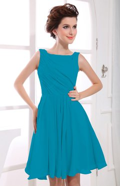Teal Casual A-line Sabrina Zipper Chiffon Ruching Party Dresses