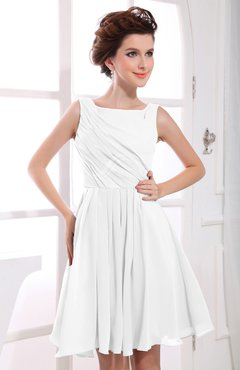 White Casual A-line Sabrina Zipper Chiffon Ruching Party Dresses